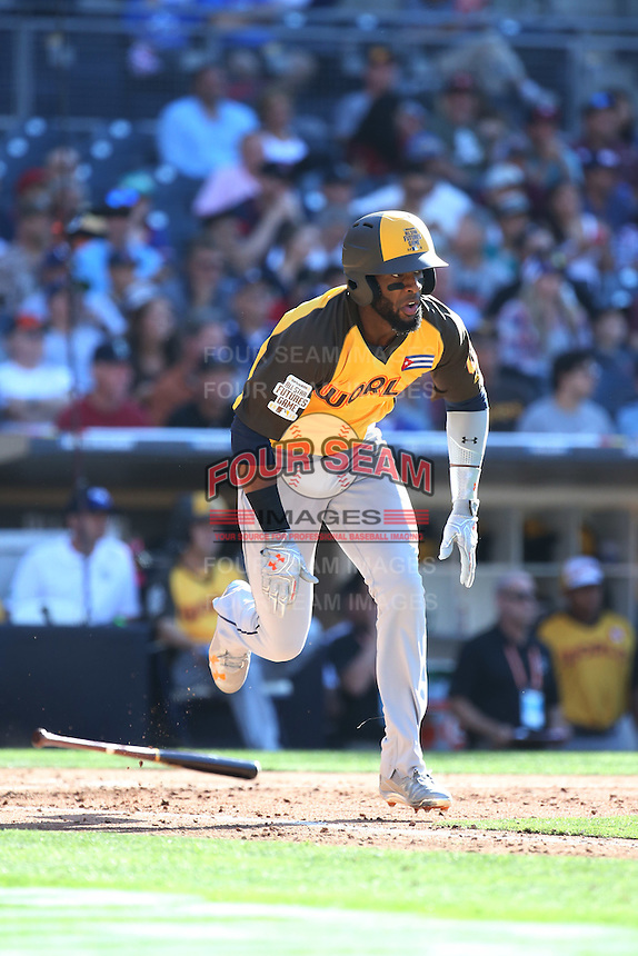 Eloy Jimenez of the World Team runs to first base during a game against the USA Team during The Futures Game at Petco Park on July 10, 2016 in San Diego, California. World Team defeated USA Team, 11-3. (Larry Goren/Four Seam Images)