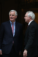 Michel Barnier and David Davis in Downing Street for Brexit talks.  London, England on February 05. 2018<br /> CAP/GOL<br /> &copy;GOL/Capital Pictures