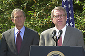 "John P. Walters, right, United States President George W. Bush's nominee to be the ""Drug Czar"", makes remarks in the Rose Garden of the White House in Washington, D.C. on May 10, 2001..Credit: Ron Sachs / CNP"