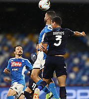 1st August 2020; Stadio San Paolo, Naples, Campania, Italy; Serie A Football, Napoli versus Lazio; Konstantinos Manolas of Napoli challenges Luis Felipe of SS Lazio for the header in the box