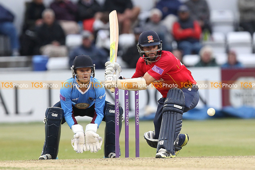 Mark Pettini in batting action for Essex as Ben Duckett looks on - Northamptonshire Steelbacks vs Essex Eagles - Royal London One-Day Cup at the County Ground, Northampton - 21/08/14 - MANDATORY CREDIT: Gavin Ellis/TGSPHOTO - Self billing applies where appropriate - contact@tgsphoto.co.uk - NO UNPAID USE