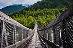 Hanging Bridge at Queulat National Park, Aisen Region, Patagonia, Chile, South America on the Carretera Austral highway.