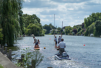 Maidenhead, United Kingdom. &quot;Doubles Racing&quot;, with the Umpire following.  &quot;Thames Punting Club Regatta&quot;, Bray Reach.<br /> 13:19:20 Sunday  06/08/2017<br /> <br /> [Mandatory Credit. Peter SPURRIER Intersport Images}.<br /> <br /> LEICA M (Typ 262) mm  f4   1/1500 /sec    100 ISO River Thames, .......... Summer, Sport, Sunny, Bright, Blue Skies, Skilful,