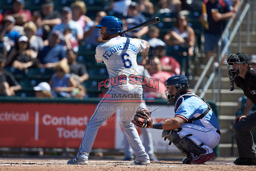 Taylor Featherston (6) of the Durham Bulls at bat against the Lehigh Valley Iron Pigs at Coca-Cola Park on July 30, 2017 in Allentown, Pennsylvania.  The Bulls defeated the IronPigs 8-2.  (Brian Westerholt/Four Seam Images)