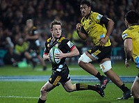 Brad Weber looks for support during the Super Rugby match between the Chiefs and Hurricanes at FMG Stadium in Hamilton, New Zealand on Friday, 13 July 2018. Photo: Dave Lintott / lintottphoto.co.nz