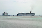 Cruise ships at a cruise line constructed pier in Costa Maya, Mexico on the Carribean coast south of Cancun.