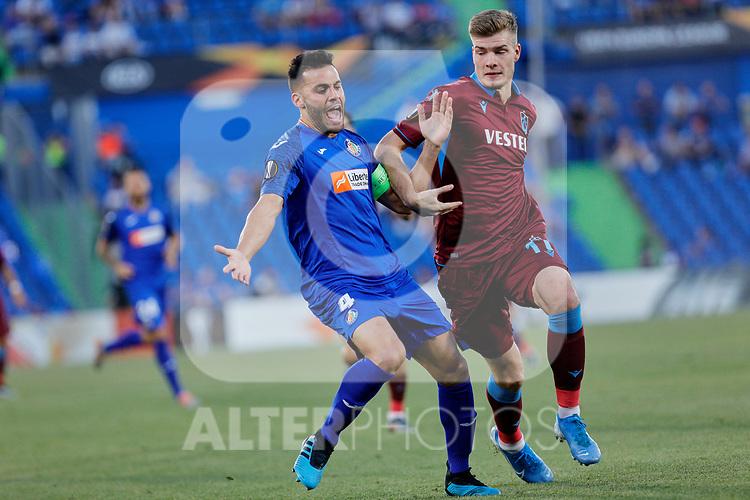 Bruno Gonzalez of Getafe CF and Alexander Sorloth of Trabzonspor during UEFA Europa League match between Getafe CF and Trabzonspor at Coliseum Alfonso Perez in Getafe, Spain. September 19, 2019. (ALTERPHOTOS/A. Perez Meca)