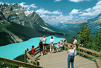 Tourists Visiting a Mountain Lake in the Canadian Rockies. Alberta Canada.