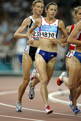 24 August 2004: British runner Joanne Pavey (GBR) (1830) running in the 3rd heat of the 1st round of the Women's 1500m held at the Olympic Stadium. 2004 Olympic Games, Athens, Greece. Photo: Neil Tingle/Action Plus...040824 olympics olympic athletics track and field athlete run runs running women woman womens distance..female