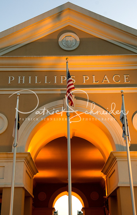 Architectural photography of Phillips Place, one of the country's first mixed-use developments. Phillips Place, an upscale center anchored by shopping and restaurants, was developed by Pappas Properties in Charlotte, NC.