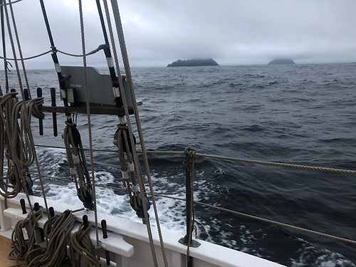 The Skelligs partially hidden by the Atlantic mist, as seen yesterday (Sunday) evening from Ilen on her cargo voyage from Baltimore towards Kilrush, Foynes and Limerick
