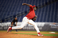 Clearwater Threshers starting pitcher Franklyn Kilome (47) delivers a pitch during the second game of a doubleheader against the Palm Beach Cardinals on April 13, 2017 at Spectrum Field in Clearwater, Florida.  Palm Beach defeated Clearwater 1-0.  (Mike Janes/Four Seam Images)