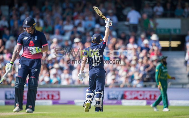 Picture by Allan McKenzie/SWpix.com - 24/05/2017 - Cricket - Royal London One-Day International - England v South Africa - Headingley Cricket Ground, Leeds, England - England's Eoin Morgan celebrates his half-century against South Africa.