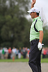 """Padraig Harrington """"is it up is it down Hand signals"""" from the fairway on the first on the final day of the 3 Irish Open, at the Killarney Golf and Fishing Club, Killarney, Ireland.Picture Fran Caffrey/www.golffile.ie."""