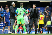 Watford Manager, Javi Gracia, shakes hands with Chelsea goalkeeper, Kepa Arrizabalaga at the final whistle during Chelsea vs Watford, Premier League Football at Stamford Bridge on 5th May 2019
