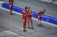 SCHAATSEN: HEERENVEEN: IJsstadion Thialf, 03-06-2013, training merkenteams op zomerijs, Gianni Romme (trainer), Yvonne Nauta, Jorien Voorhuis, ©foto Martin de Jong