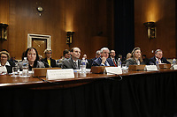 Members of the United States Nuclear Regulatory Commission testify before the Senate Committee on Environment and Public Works during an oversight hearing, in Washington, DC, April 2, 2019. Shown (left to right) are Chairman Kristine Svinicki and Commissioners Jeff Baran, Stephen Burns, Annie Caputo, and David Wright. Photo Credit: Martin H. Simon/CNP/AdMedia