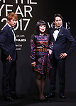 """November 24, 2017, Tokyo, Japan - Japanese comedian Buruzon Chiemi (C) poses as she receives the trophy of """"Vogue Japan Women of the Year 2017"""" award in Tokyo on Friday, November 24, 2017.      (Photo by Yoshio Tsunoda/AFLO) LWX -ytd-"""