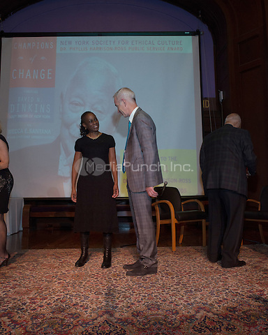 NEW YORK, NY - APRIL 3: John McEnroe, Chirlane McCray pictured as David N. Dinkins, 106th Mayor of the City of New York, receives the Dr. Phyllis Harrison-Ross Public Service Award for a lifetime of public service at the New York Society of Ethical Culture in New York City on April 3, 2014. Credit: Margot Jordan/MediaPunch