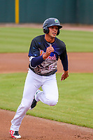 Cedar Rapids Kernels outfielder Alex Kirilloff (19) races to third base during a Midwest League game against the Kane County Cougars on April 21, 2018 at Perfect Game Field at Veterans Memorial Stadium in Cedar Rapids, Iowa. Kane County defeated Cedar Rapids 9-2. (Brad Krause/Four Seam Images)