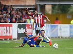 AFC Wimbledon's Andy Barcham tussles with  Sheffield United's Ethan Ebanks-Landell during the League One match at the Kingsmeadow Stadium, London. Picture date: September 10th, 2016. Pic David Klein/Sportimage