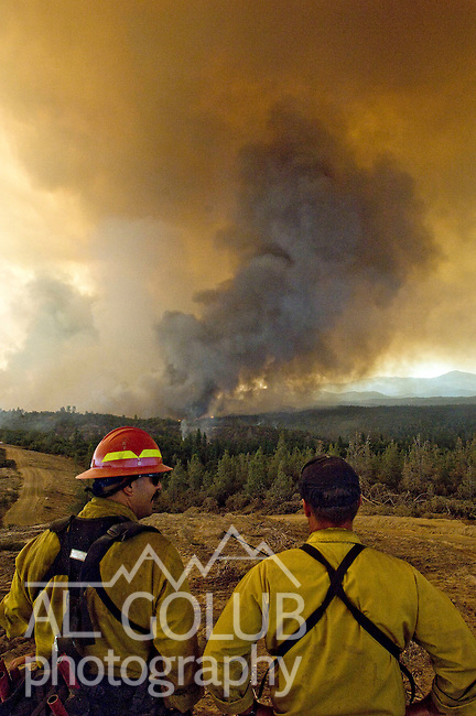 Greeley Hill, California-- July 29, 2008-Telegraph Fire-Wildfires Threaten Yosemite National Park .CalFire firefighters watch blow up at Division M of Branch Three as the fire bumps over the line..This Image was use by Associated Press Photo.AP Photo/Al Golub.