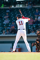 Mesa Solar Sox designated hitter Bobby Dalbec (11), of the Boston Red Sox organization, at bat during an Arizona Fall League game against the Salt River Rafters at Sloan Park on November 9, 2018 in Mesa, Arizona. Mesa defeated Salt River 5-4. (Zachary Lucy/Four Seam Images)