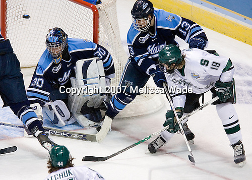 Ben Bishop (University of Maine - Des Peres, MO), Chris Mueller (Michigan State - West Seneca, NY), Keenan Hopson (University of Maine - Prince George, BC) (puck did not go in, but deflected out before going in) - The Michigan State Spartans defeated the University of Maine Black Bears 4-2 in their 2007 Frozen Four semi-final on Thursday, April 5, 2007, at the Scottrade Center in St. Louis, Missouri.