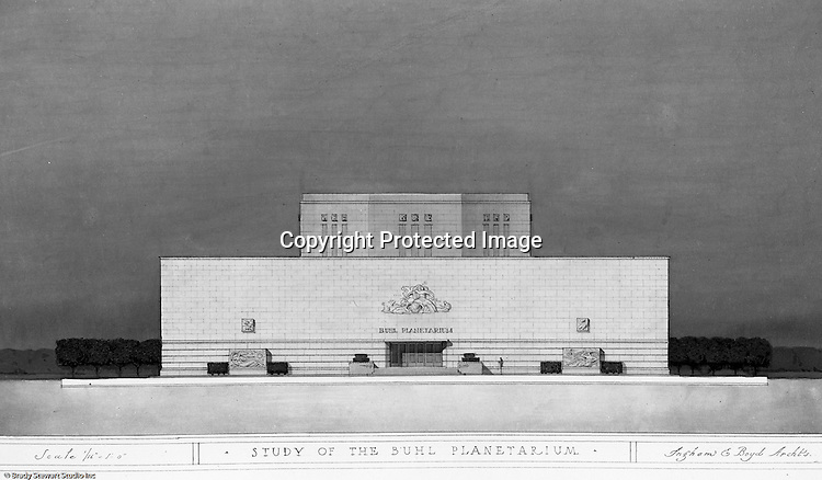 Pittsburgh PA:  View of a rendering created by J.A. Mitchell of the new Buhl Planetarium. This view is one view of a proposed front entrance of the building. The project was completed in 1939.  The Buhl Planetarium was built with monies from the Buhl Foundation; a foundation created by the wealthy North Side clothier Henry Buhl of Boggs and Buhl department store fame.  Brady Stewart was selected for the job due to his specialized equipment; an 8x10 Dierdorff camera, and his expertise in lighting and photographing large renderings and drawings.