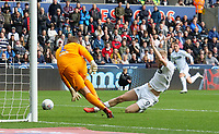 Swansea City's Oliver McBurnie narrowly misses the cross<br /> <br /> Photographer Ian Cook - CameraSport<br /> <br /> The EFL Sky Bet Championship - Swansea City v Ipswich Town - Saturday 6th October 2018 - Liberty Stadium - Swansea<br /> <br /> World Copyright &copy; 2018 CameraSport. All rights reserved. 43 Linden Ave. Countesthorpe. Leicester. England. LE8 5PG - Tel: +44 (0) 116 277 4147 - admin@camerasport.com - www.camerasport.com