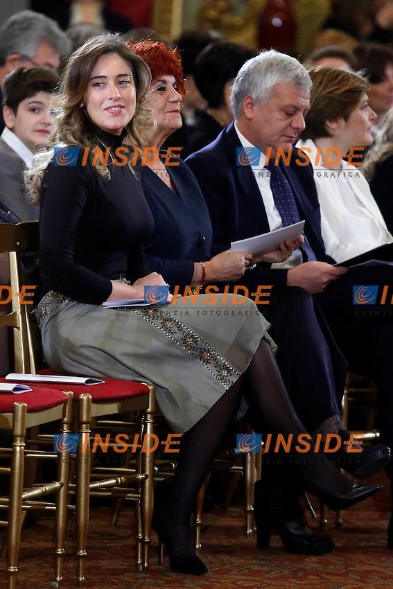 Maria Elena Boschi e Valeria Fedeli<br /> Roma 07-03-2015 Palazzo del Quirinale. Celebrazione della Giornata Internazionale della Donna.<br /> Celebration of the International Women's Day<br /> Photo Samantha Zucchi Insidefoto