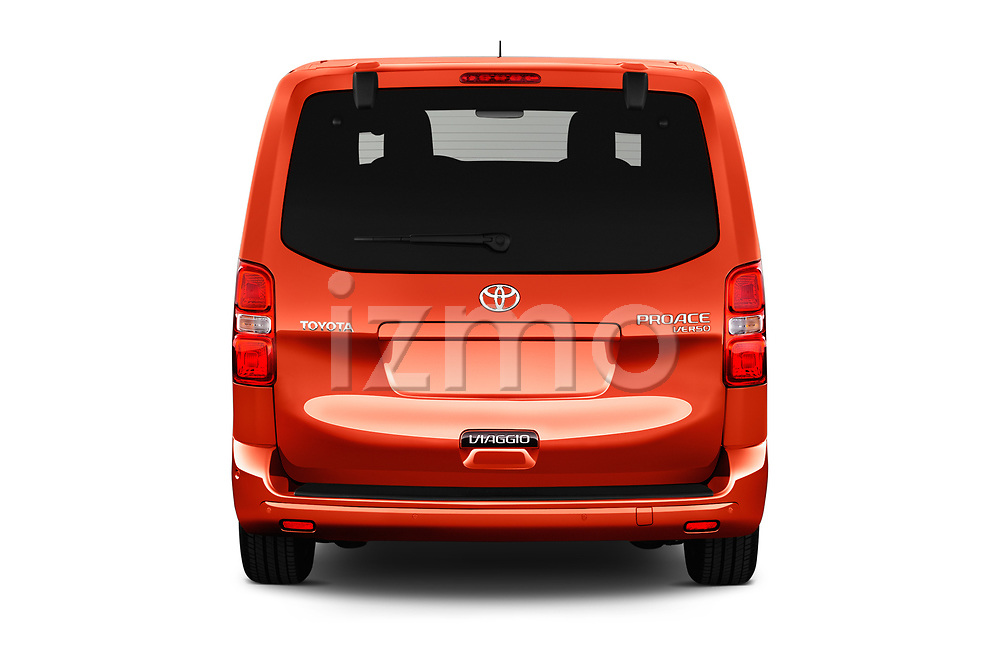 Straight rear view of 2018 Toyota Proace-Verso Viaggio 5 Door Minivan Rear View  stock images