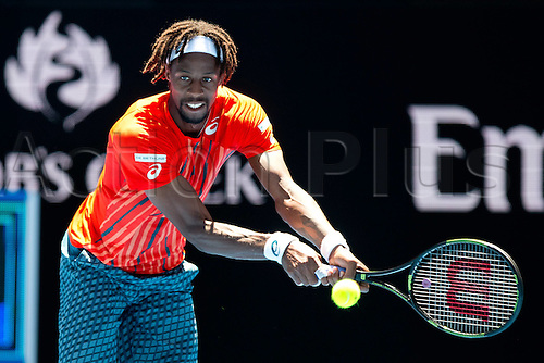 25.01.2016. Melbourne Park, Melbourne, Australia. Australian Open Tennis Championships. Gael Monfils in action at the start of the second week.