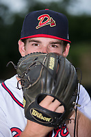 Danville Braves pitcher Bruce Zimmerman (28) poses for a photo prior to the game against the Princeton Rays at American Legion Post 325 Field on June 25, 2017 in Danville, Virginia.  The Braves walked-off the Rays 7-6 in 11 innings.  (Brian Westerholt/Four Seam Images)