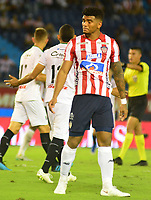 BARRANQUILLA - COLOMBIA ,24-08-2019: Rafael Pérez jugador del Atlético Junior   ante el  Once Caldas  durante partido por la fecha 8 de la Liga Águila II 2019 jugado en el estadio Metropolitano Roberto Meléndez de la ciudad de Barranquilla . / Rafael Perez player of Atletico Junior agaisnt of Once Caldas during the  match for the date 8 of the Liga Aguila II 2019 played at Metropolitano Roberto Melendez Satdium in Barranquilla City . Photo: VizzorImage / Alfonso Cervantes / Contribuidor.