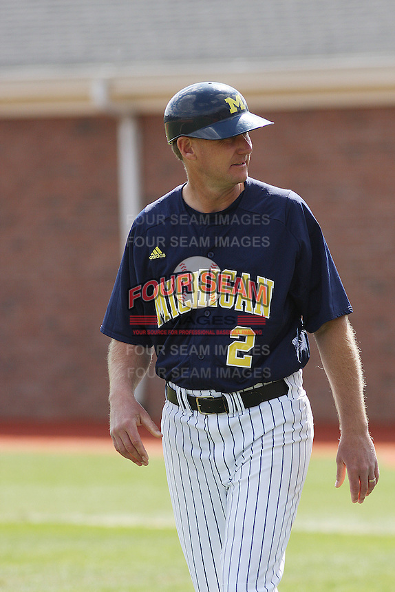 Head Coach Rich Maloney #2 in the field during a game for the University of Michigan Wolverines against the Coastal Carolina University Chanticleers at the Carvelle Resort Classic Tournament held at Watson Stadium at Vrooman Field in Conway, SC on March 13, 2010. Photo by Robert Gurganus/Four Seam Images