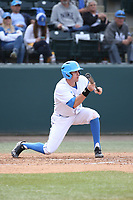 Ryan Kreidler (3) of the of UCLA Bruins bunts during a game against the University of San Diego Toreros at Jackie Robinson Stadium on March 4, 2017 in Los Angeles, California.  USD defeated UCLA, 3-1. (Larry Goren/Four Seam Images)
