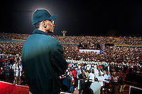 Rwandan president Paul Kagame waits to make a speech after the announcment of partial presidential election results at Amahoro stadium, Kigali, Rwanda. President Paul Kagame won 93 percent of the counted votes. August 10 2010