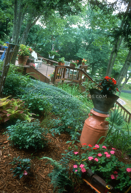 Hillside Shaded Backyard With Deck, Container Plants, Groundcover, Coleus,  Impatiens, Flea