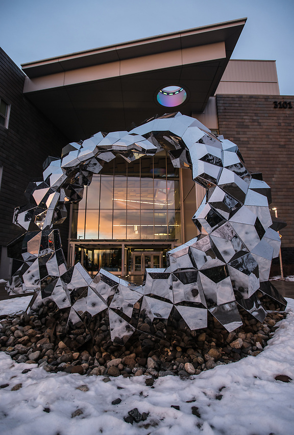 Sculpture in front of UAA's ConocoPhillips Integrated Science Building.
