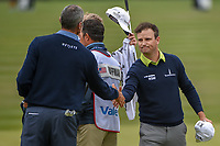 Zach Johnson (USA) shakes hands with Matt Kuchar (USA) following Round 2 of the Valero Texas Open, AT&amp;T Oaks Course, TPC San Antonio, San Antonio, Texas, USA. 4/20/2018.<br /> Picture: Golffile | Ken Murray<br /> <br /> <br /> All photo usage must carry mandatory copyright credit (&copy; Golffile | Ken Murray)