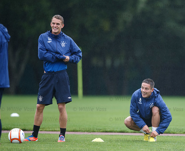 Division 3 internationalists Dean Shiels and Ian Black together at training