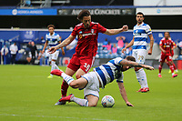 Ryan Manning of Queens Park Rangers slips as Harry Arter of Fulham pressures him during Queens Park Rangers vs Fulham, Sky Bet EFL Championship Football at the Kiyan Prince Foundation Stadium on 30th June 2020