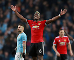 Paul Pogba of Manchester United celebrates on the final whistle during the premier league match at the Etihad Stadium, Manchester. Picture date 7th April 2018. Picture credit should read: Simon Bellis/Sportimage
