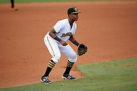 Bradenton Marauders third baseman Ke'Bryan Hayes (31) during the second game of a doubleheader against the Tampa Yankees on June 14, 2017 at LECOM Park in Bradenton, Florida.  Tampa defeated Bradenton 5-1.  (Mike Janes/Four Seam Images)