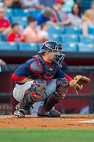 Oklahoma City RedHawks catcher Max Stassi (10) on defense against the Nashville Sounds at Greer Stadium on July 25, 2014 in Nashville, Tennessee.  The Sounds defeated the RedHawks 2-0.  (Brian Westerholt/Four Seam Images)