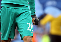 Tottenham Hotspur's Dele Alli wears a cast on his broken hand during the pre-match warm-up <br /> <br /> Photographer Rich Linley/CameraSport<br /> <br /> UEFA Champions League - Quarter-finals 2nd Leg - Manchester City v Tottenham Hotspur - Wednesday April 17th 2019 - The Etihad - Manchester<br />  <br /> World Copyright © 2018 CameraSport. All rights reserved. 43 Linden Ave. Countesthorpe. Leicester. England. LE8 5PG - Tel: +44 (0) 116 277 4147 - admin@camerasport.com - www.camerasport.com