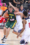 11.09.2014 Barcelona. FIBA Basketball World Cup. Semi-Finals. Picture show M. Kuzminskas in action during game Usa v Lithuania at Palau St. Jordi