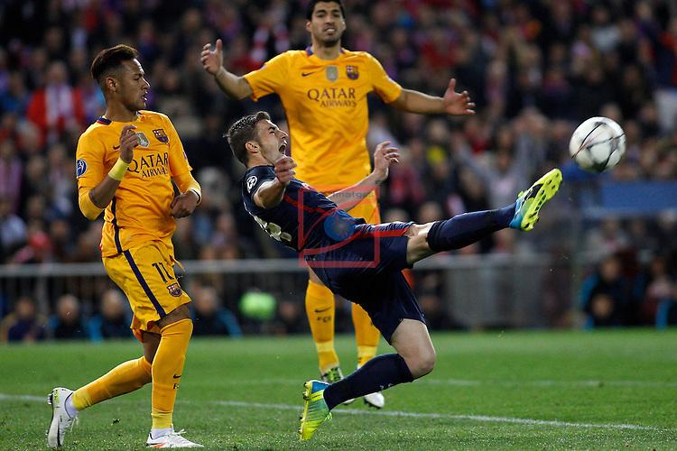 UEFA Champions League 2015-2016.<br /> Quarter-finals Second leg.<br /> Club Atletico de Madrid vs FC Barcelona: 2-0.<br /> Neymar vs Gabi.