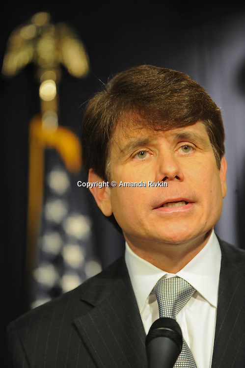 Illinois Governor Rod Blagojevich continues to defy state officials during a press conference at the Thompson Center in Chicago, Illinois on January 9, 2009. Blagojevich is the first governor to be impeached in Illinois history.